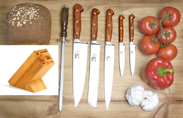 Grohmann Knives 7pc Forged Rosewood Kitchen Set